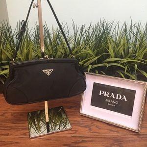 Auth Prada Nylon w/ Leather trim Black Bow Purse